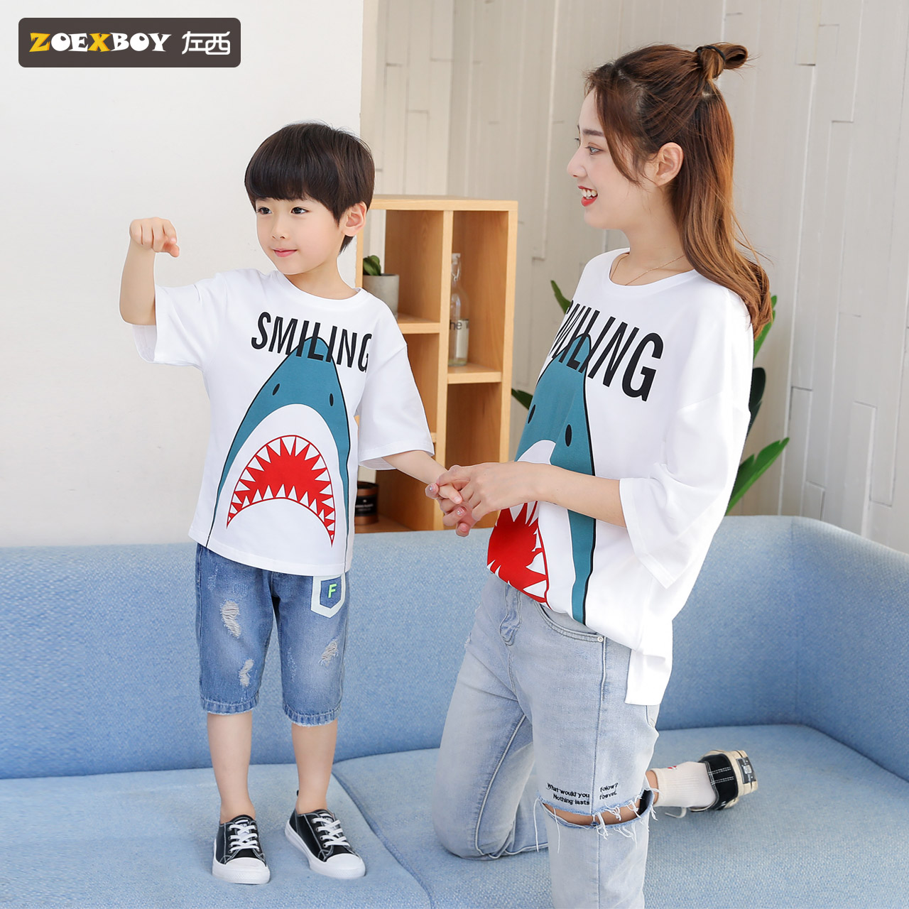 Left West boy paternity mother and child loaded Summer Summer 2019 new tide family children's short-sleeved T-shirt summer