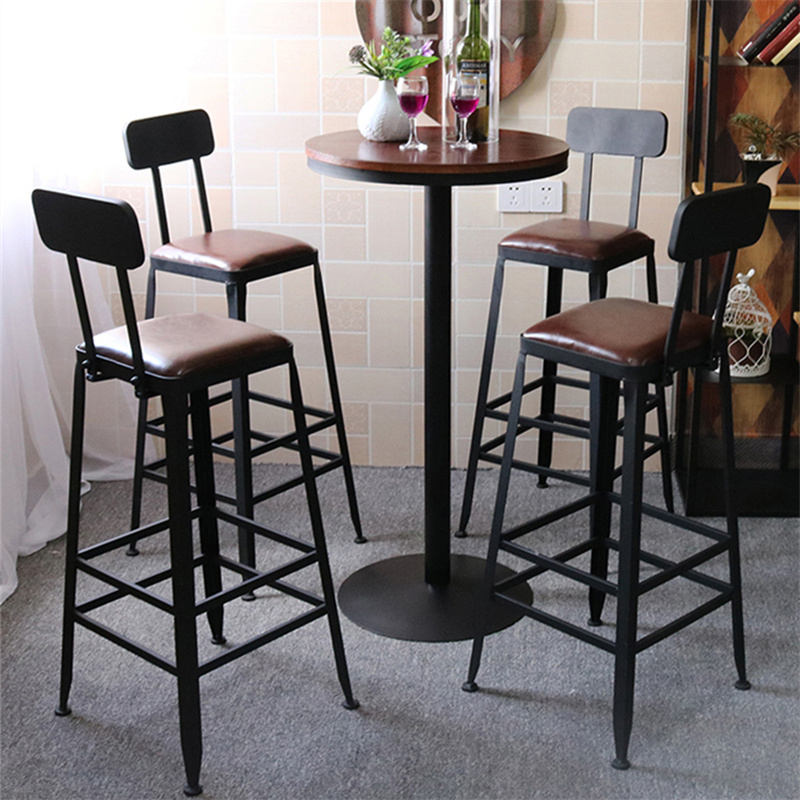 Wrought Iron Starbucks Retro High Chair Bar Stool Solid Wood Tables And  Chairs Combination Bar High ...