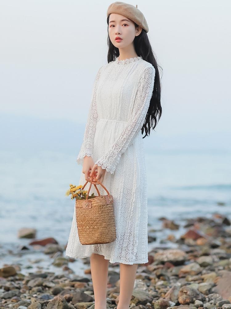 8326#定价不低于73【现货实拍】法式蕾丝立领少女连衣裙百搭