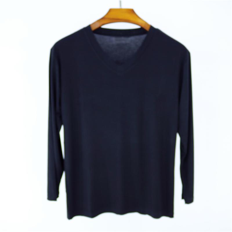 Phương thức v-cổ dài tay t-shirt nam mùa hè và mùa thu phần mỏng màu rắn đáy áo cộng với chất béo kích thước lớn cotton vòng cổ mùa thu quần áo áo tay lỡ nam