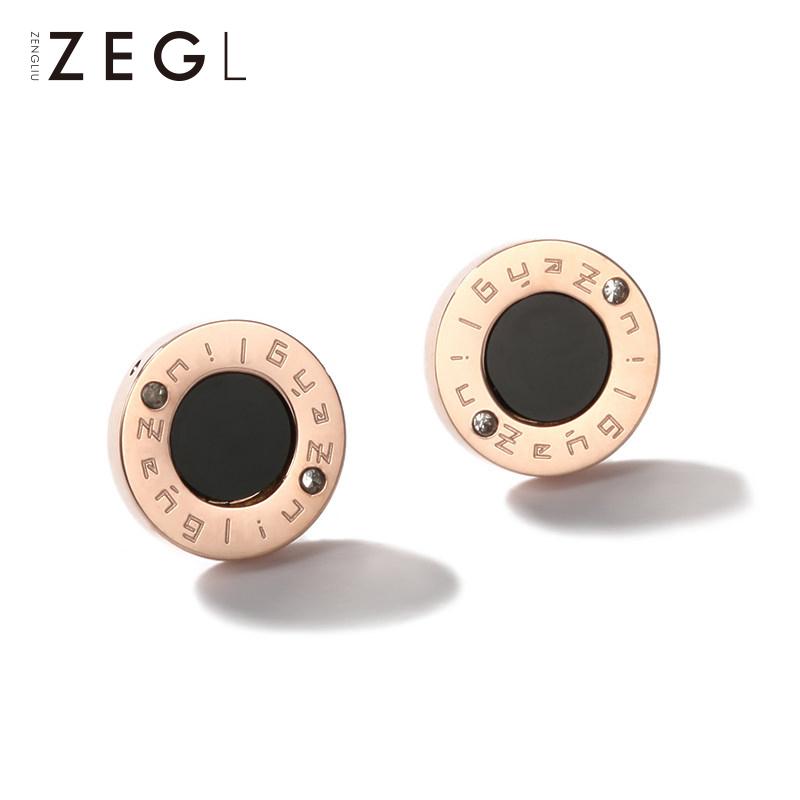 Plated rose gold black ear earrings women's earrings simple cold air quality Korea 2021 new fashion titanium steel earrings