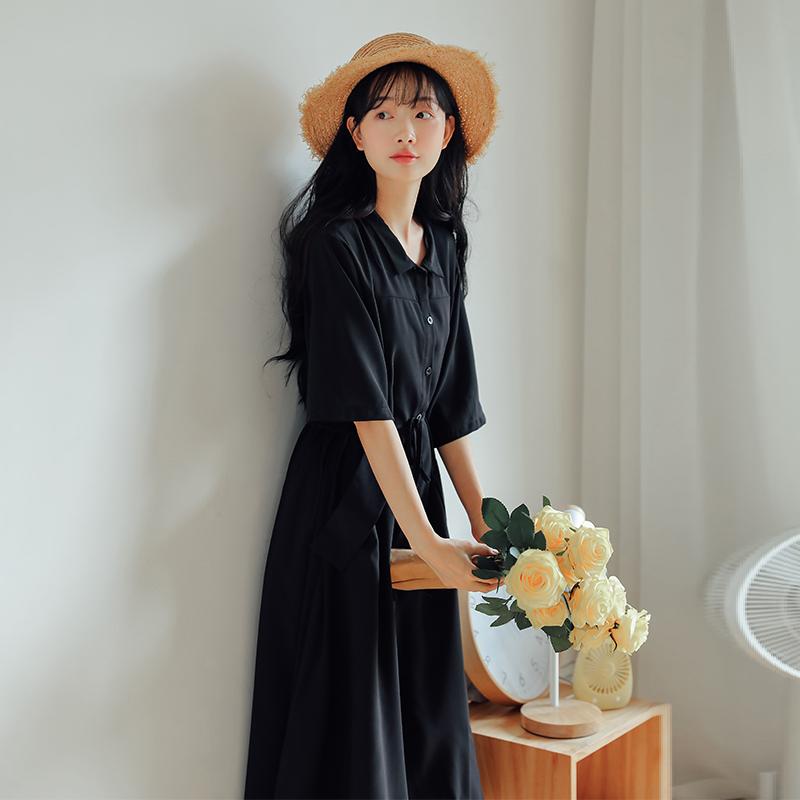 Pháp retro năm điểm tay áo váy đen văn học nữ thần quạt giữa tay áo khí chất váy nữ phần dài trên đầu gối - Sản phẩm HOT