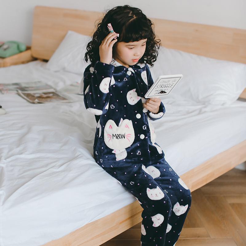 芬腾千线艺秋冬女童珊瑚睡衣法兰绒小孩儿童家居服女孩大童装套装