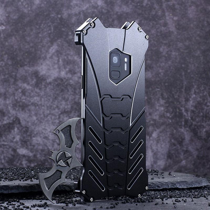 R-Just Batman Shockproof Aluminum Shell Metal Case with Custom Batarang Stent for Samsung Galaxy S9 Plus & Samsung Galaxy S9