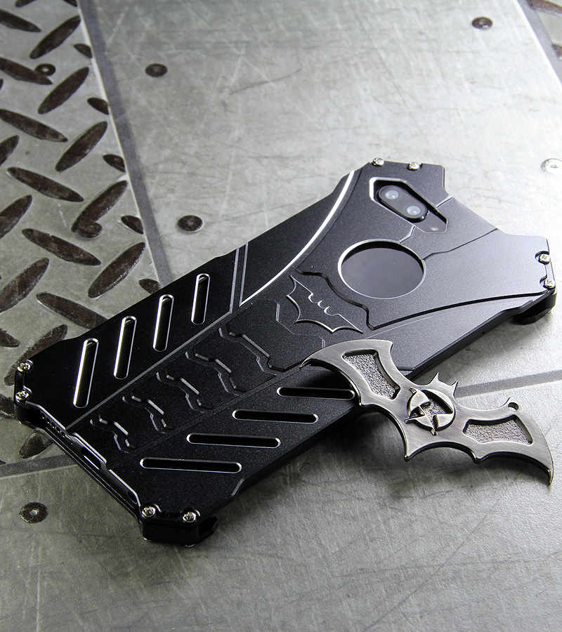 R-Just Batman Shockproof Aluminum Shell Metal Case with Custom Batarang Stent for Huawei Honor 10