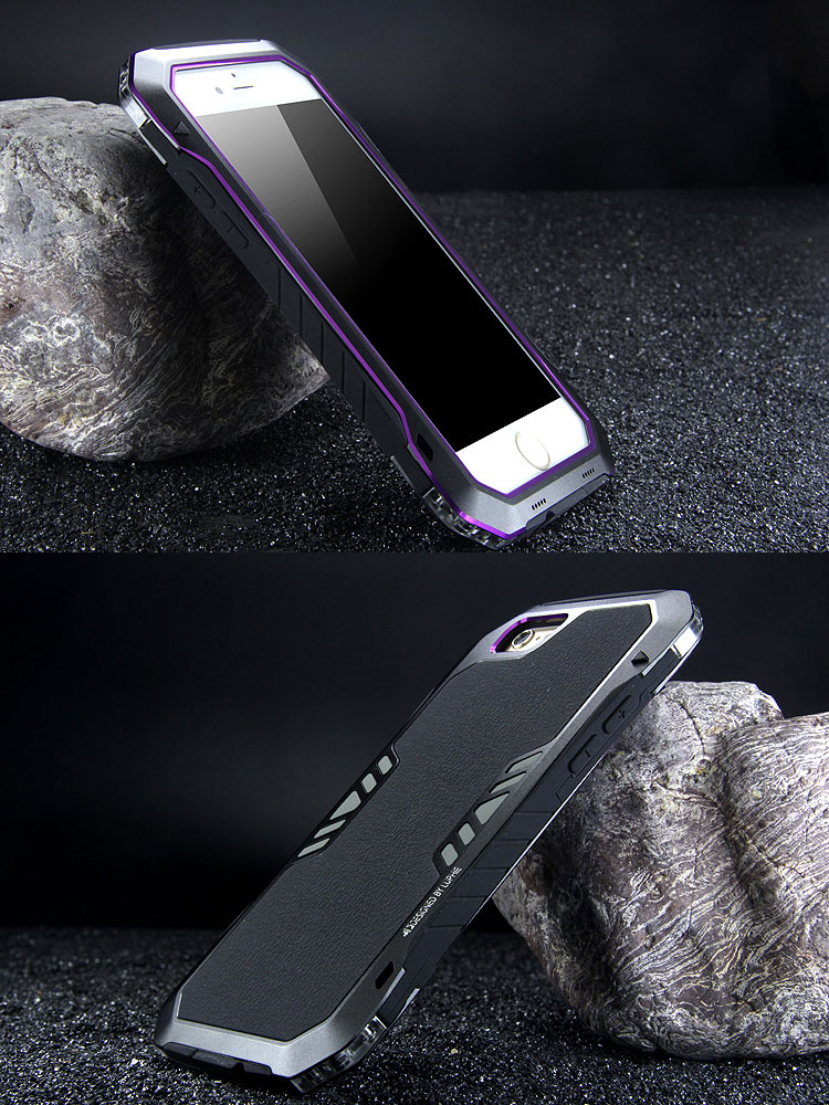 Luphie Armored Knight Bicolor Aluminum Metal Bumper + Shockproof Silicone Triple Protection Case Cover for Apple iPhone 6S Plus/6 Plus/6S/6