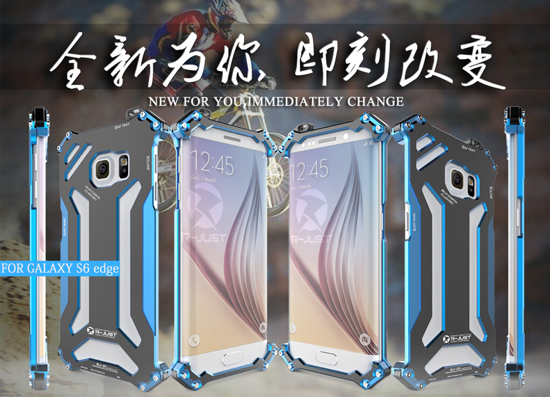 R-JUST GUNDAM Aerospace Aluminum Contrast Color Shockproof Metal Shell Outdoor Protection Case for Samsung Galaxy S6 Edge G9250