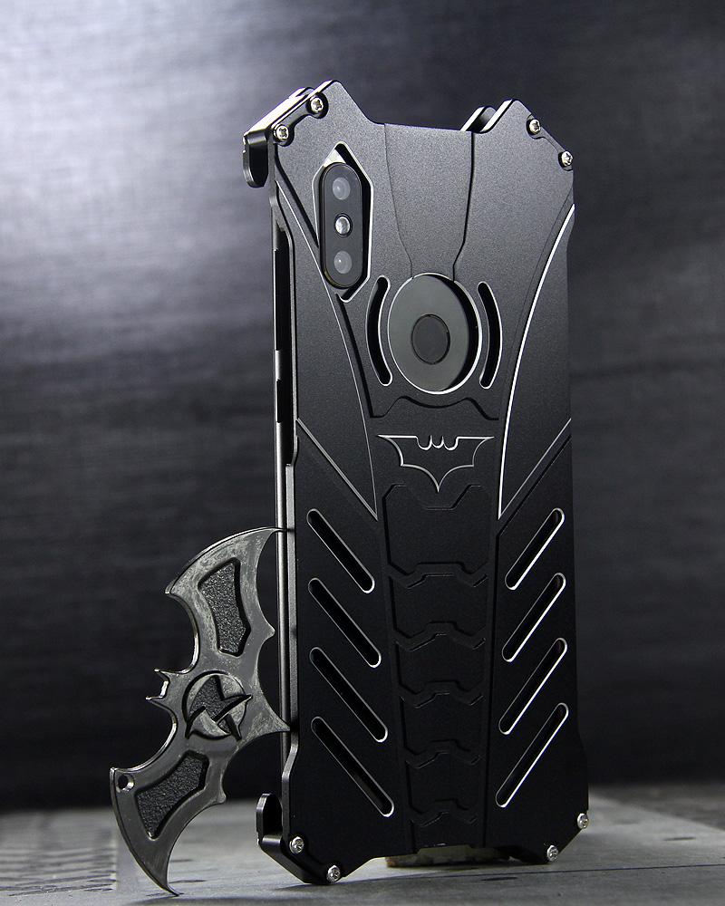 R-Just Batman Shockproof Aluminum Shell Metal Case with Custom Batarang Stent for Xiaomi Mi MIX 2S