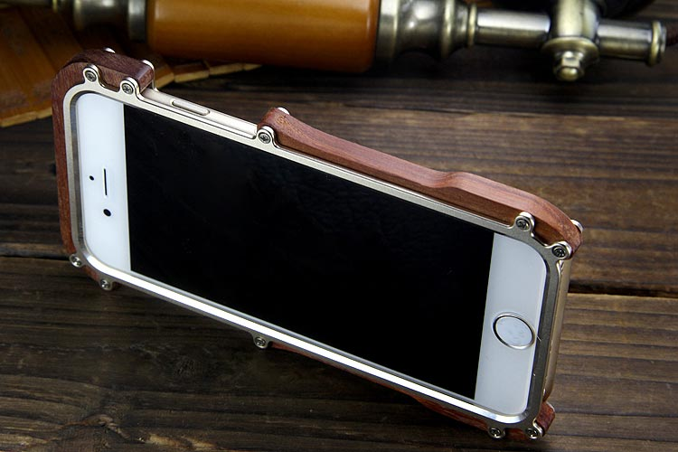 R-Just Light Slim Timber Aluminum Metal Wood Bumper Case Cover for Apple iPhone 6S Plus/6 Plus & iPhone 6S/6