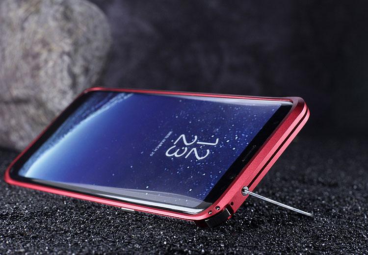 iMatch Slim Light Aluminum Metal Shockproof Bumper Case with Kickstand for Samsung Galaxy S8 Plus & Galaxy S8