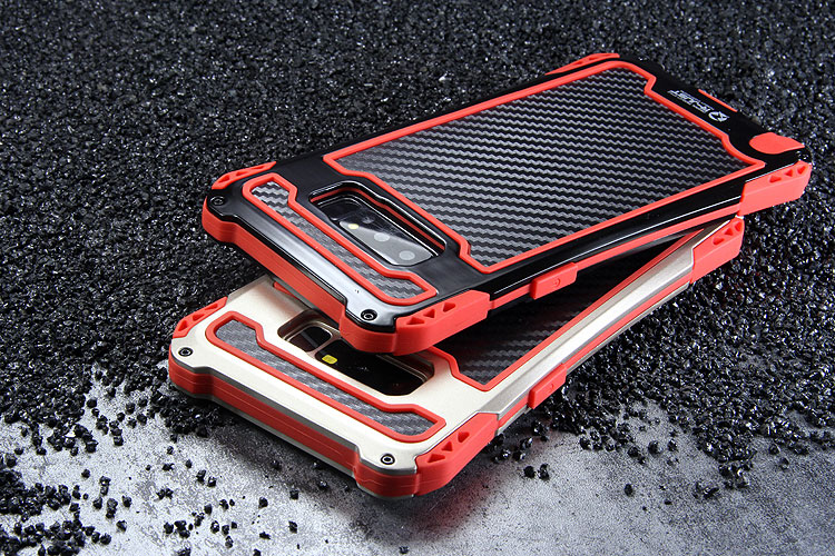 R-Just Amira Heavy Duty Dirtproof Shockproof Rainproof Aluminum Metal Bumper Carbon Fiber Back Cover Case for Samsung Galaxy Note 8