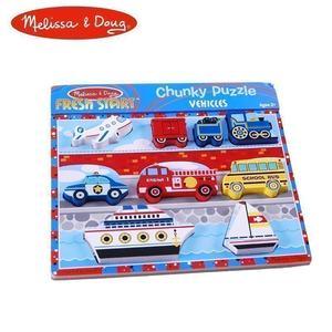美国melissadoug儿童木制宝宝交通工具动物形状认知精品拼图玩具