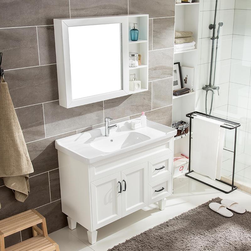詩琳納現代簡約浴室柜組合落地實木洗手臉盆洗漱臺衛生間衛浴面盆
