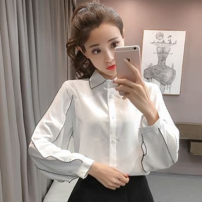 2018 new women's wear Han Fan College Slim wind chiffon shirt shirt long-sleeved loose OL white shirt tide