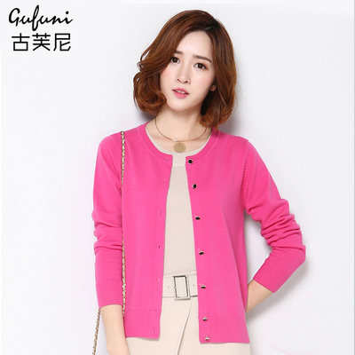 Spring and autumn new 100% pure wool sweater sweater round collar burst sweater Korean version of the solid color casual sweater jacket