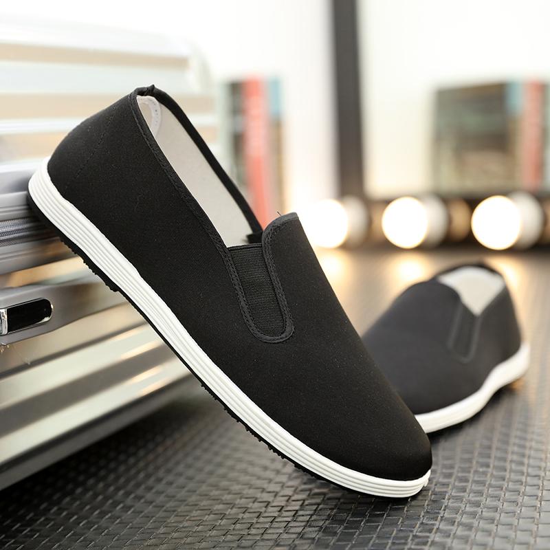 Old Bắc Kinh giày vải nam cha trung niên một bàn đạp mùa hè vải làm việc giải trí thoáng khí hoang dã màu đen duy nhất giày nam