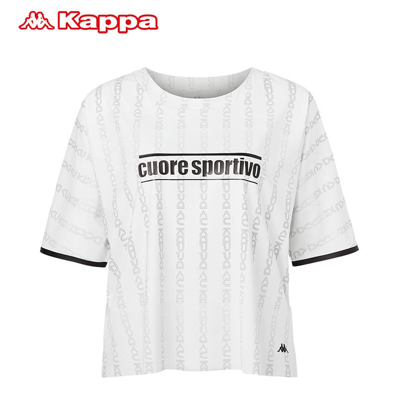 卡帕Kappa短袖2019夏季新款图案T恤韩版圆领女装衫女-K0962TD01F
