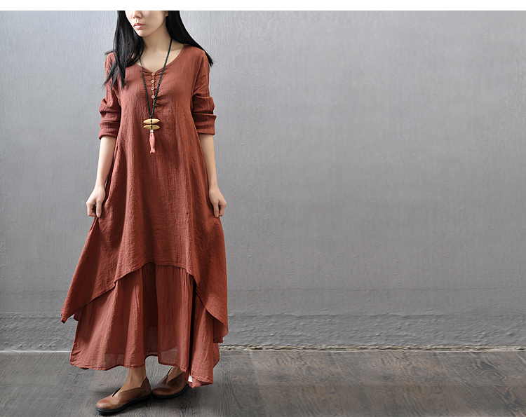 2bfe6362a5 Plus Size Vintage Women Cotton Linen Boho Long Maxi Dress Vestidos Casual  Solid Spring Loose Full Sleeve V Neck Button Dress Holiday Dresses Backless  Dress ...
