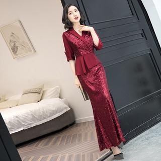 Высочайшего качества праздник может ночь платья платье женщин 2020 новый высокий дорогой элегантность тонкий красный год может господь держать человек, цена 5657 руб