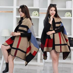 披肩围巾两用女秋冬天长款棉麻春秋加厚保暖冬季百搭披风斗篷外套