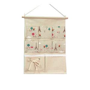 【收纳袋】墙上挂式棉麻布整理挂袋