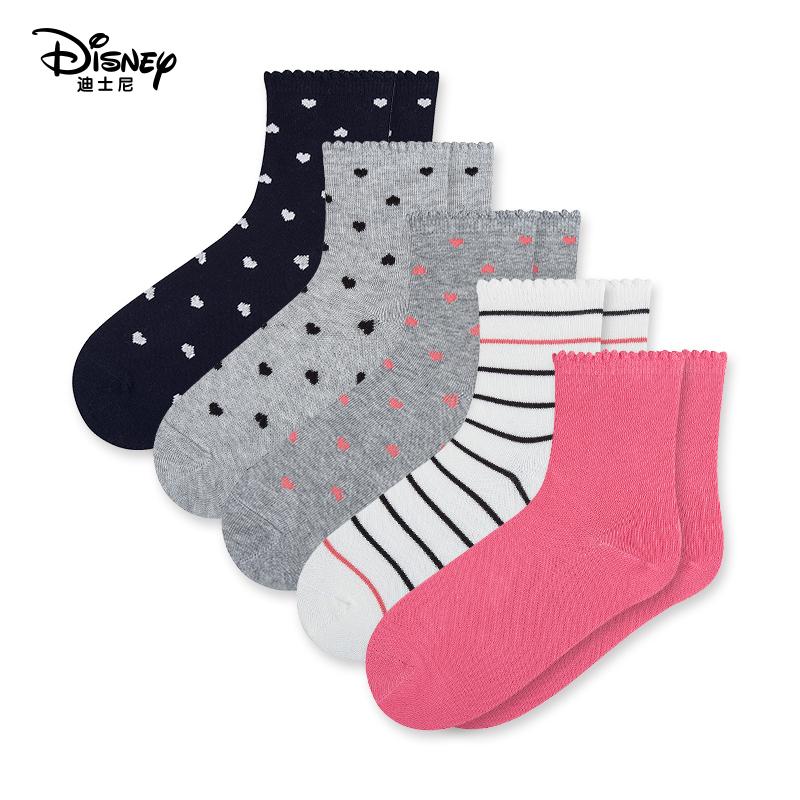 迪士尼儿童袜子男童女童精梳棉中筒袜条纹耐磨运动弹力袜5双装_领取20元天猫超市优惠券