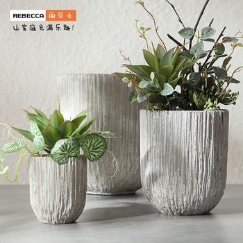 Rebecca gardening succulent small flowerpot pastoral creative home orchid daffodil hydroponic mint imitation stone flowerpot