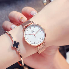 Watch female student steel belt Korean version of the trend of simple fashion waterproof casual ladies watch personality quartz watch female watch