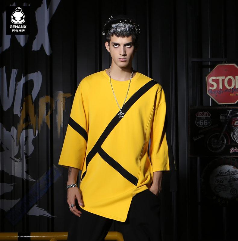 GENANX sét triều thương hiệu bông hàng đầu bảy điểm tay áo 2018 mùa thu mới màu sắc tương phản in ngắn tay áo len màu vàng