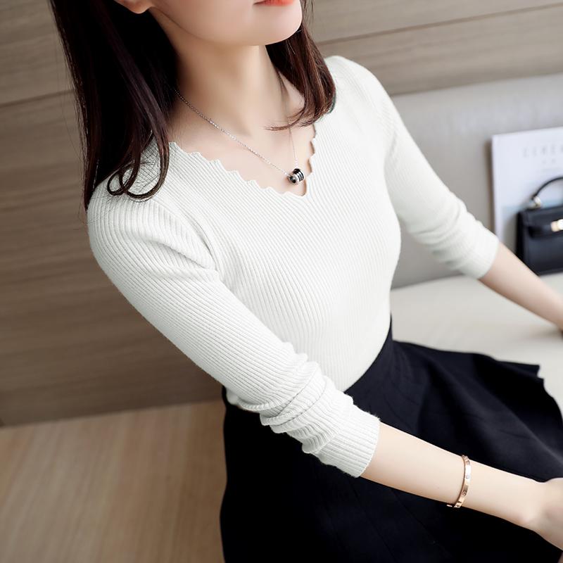 Новинка зимний осеннний женщины корейский свитер краткое модель тонкий v воротник дикий верхняя одежда с длинными рукавами поддержка свитер женские наборы глава