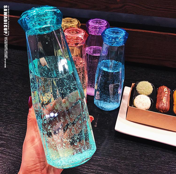 Летнее творчество модные Студенческая чашка для воды пластиковая переносная герметичная девушка корейский ясно новый прекрасный корейская версия Бутылка воды