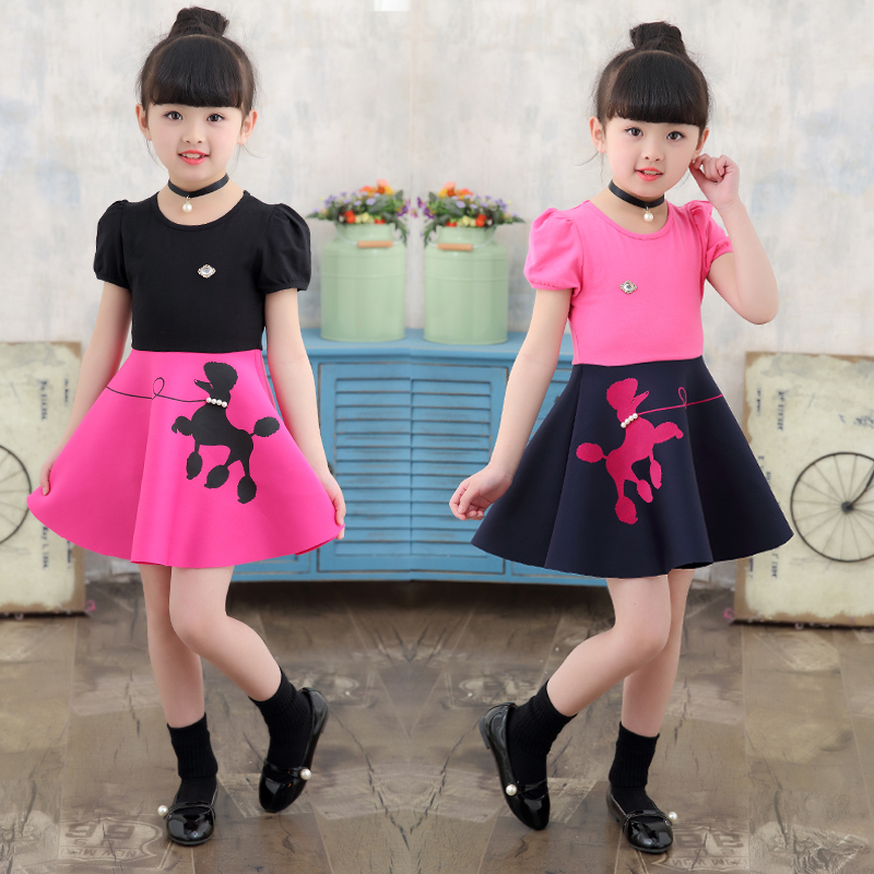 5f4024d8e 2019 summer dress 3 Western style 4 girls 5 short-sleeved 6 children skirt  7 large children 8 summer 9-year-old princess dress