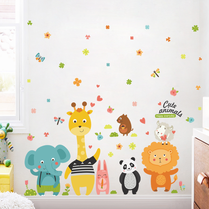 Cartoon children\'s clothing shop window glass stickers cute animal ...