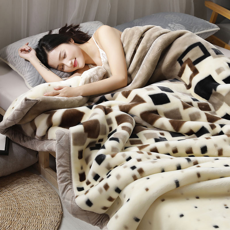 Autumn and winter thick coral flannel fluff blanket double-layerEd Raschel blanket winter dormitory 牀 single warm student quilt