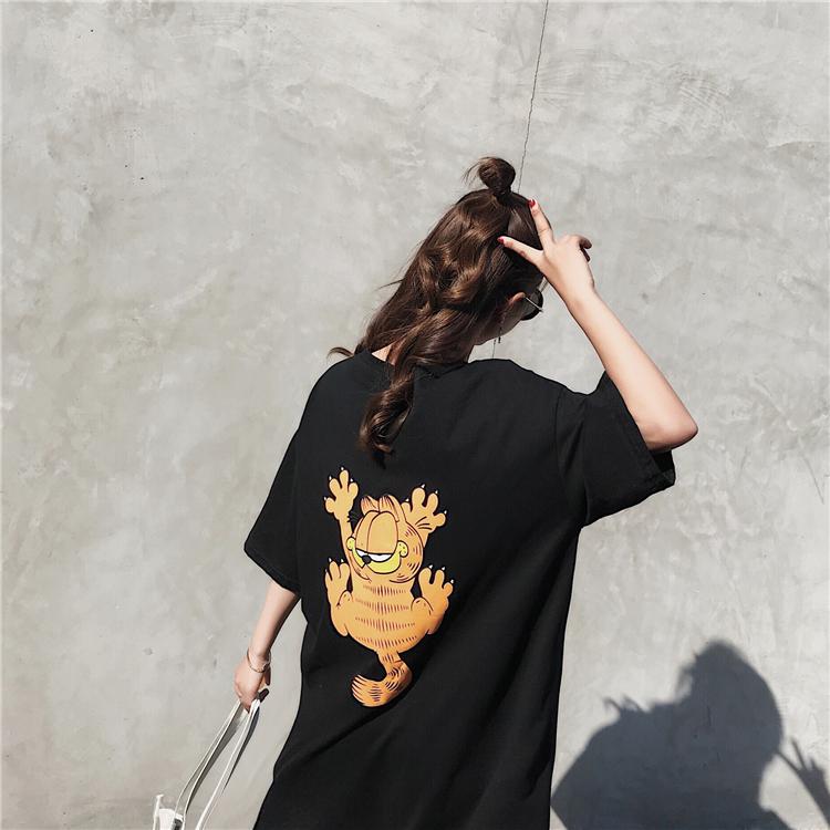 2018 mùa hè mới cộng với dài lỏng han fan hâm mộ thiết kế ngắn tay áo đầm