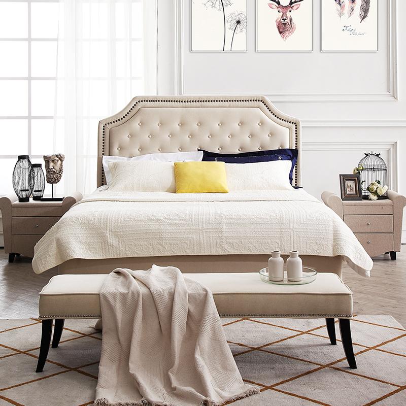 美式布藝床輕奢簡約主臥現代歐式大床北歐高靠背雙人1.8米婚床