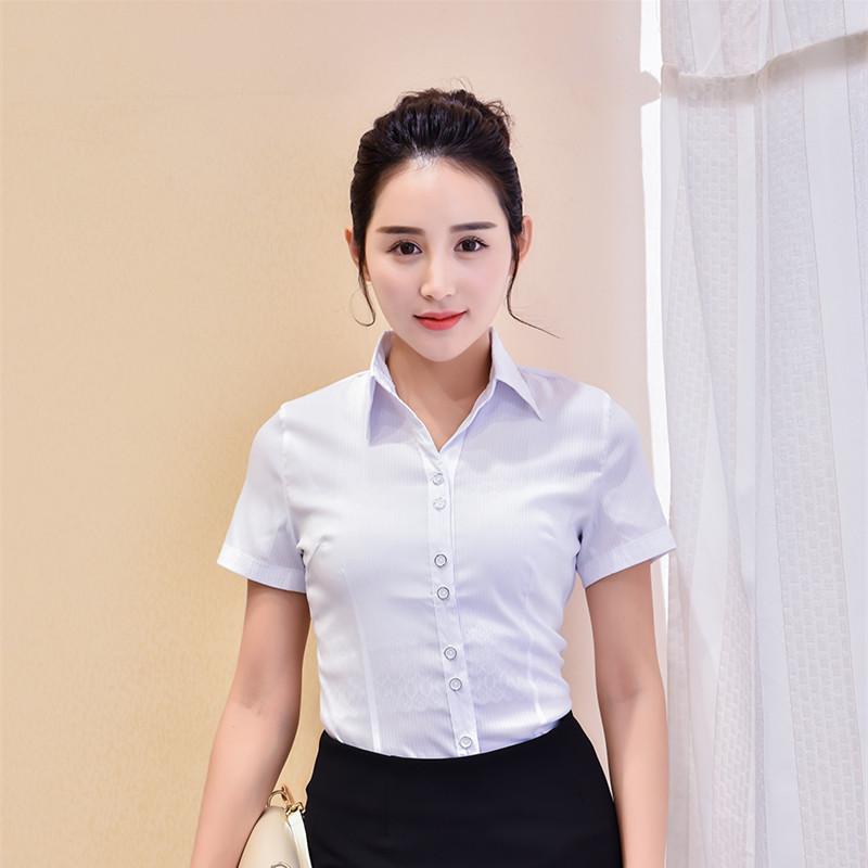 工装衬衣白衬衫女短袖职业装