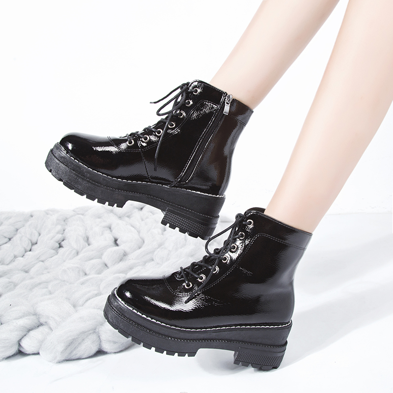 Thick-bottom Martin boots female British wind bare boots children students lacing boots Korean version of the wild female boots spring and autumn single boots