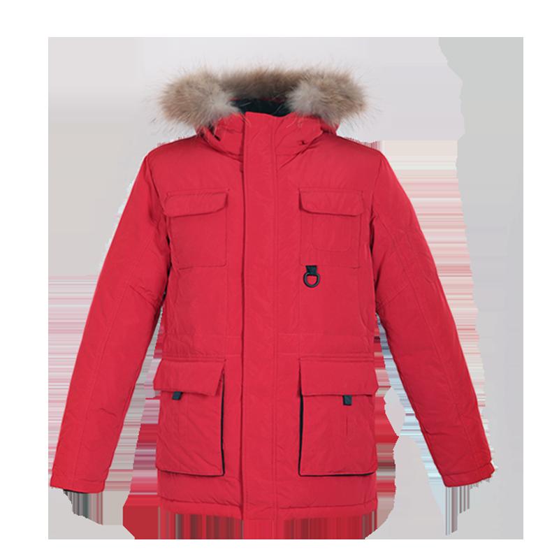 鸭鸭男装2018冬新品时尚保暖可拆卸大毛领貉子毛羽绒服外套A-3422,免费领取70元淘宝优惠卷