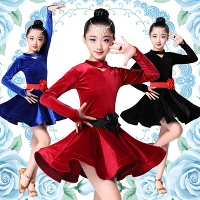 Latin dance girls skirts Latin dance skirts children's competitions performance dress velvet long sleeved training suit.