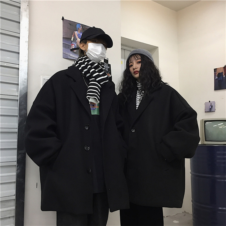 冬季原宿风女潮流韩国ins大衣复古中长款宽松bf呢子v潮流外套男女