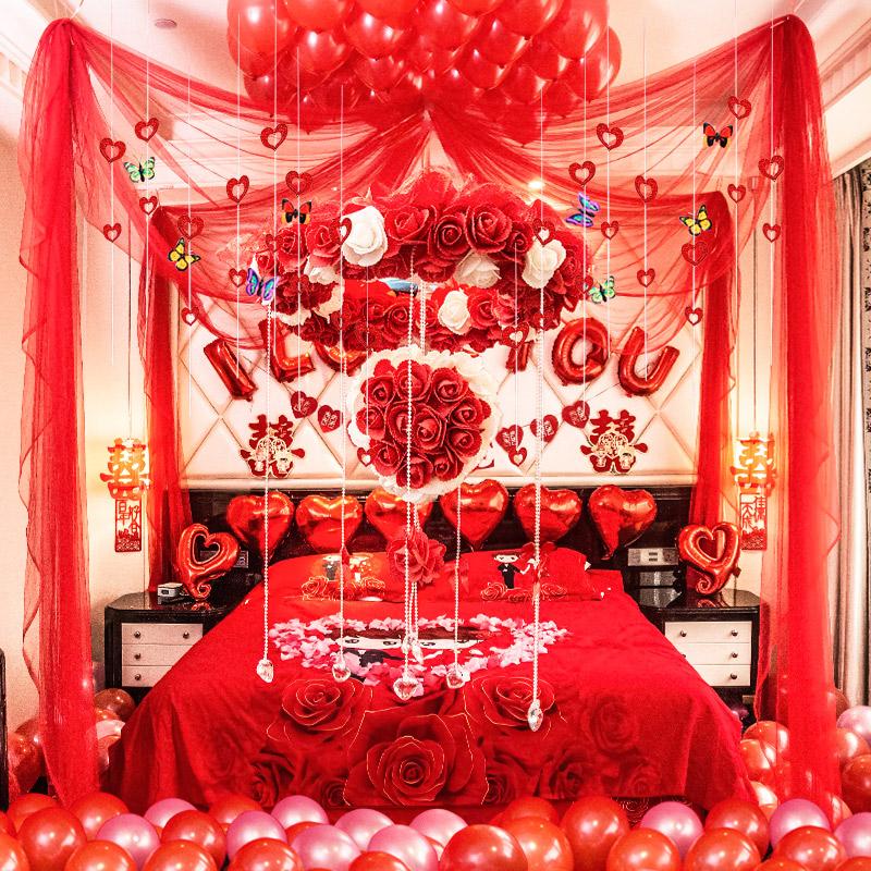 Red Rose Wedding Room Decoration
