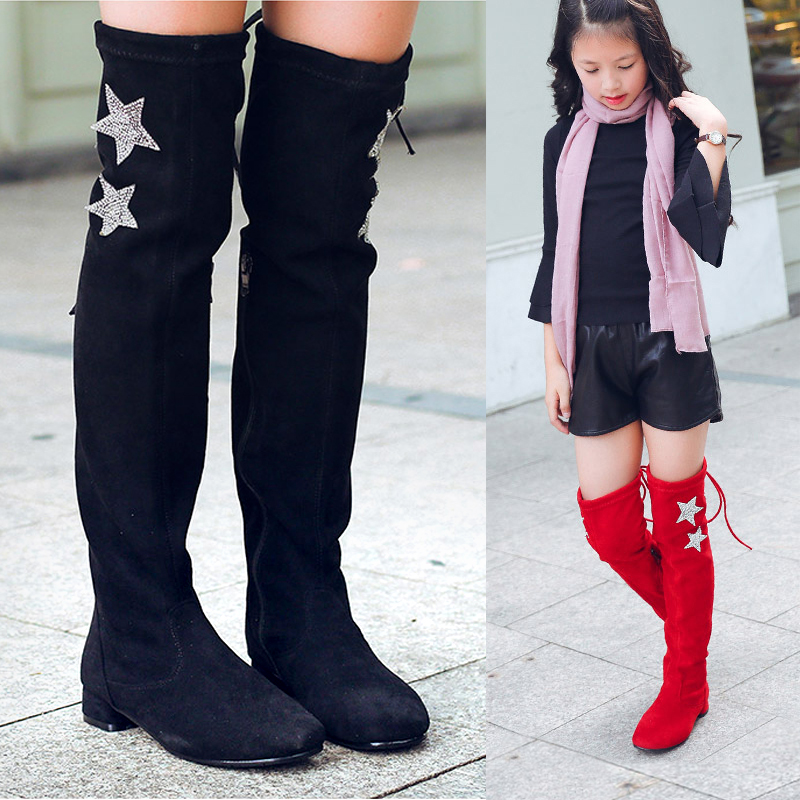 2018 new children's high-heeled princess boots big children's shoes girls over the knee boots autumn winter boots high boots black