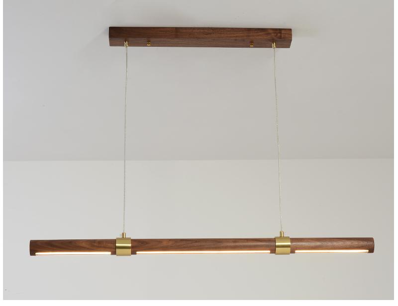 北欧LED长条灯餐桌餐厅吊灯现代简约轻奢黑胡桃木办公工作吧台灯商品详情图