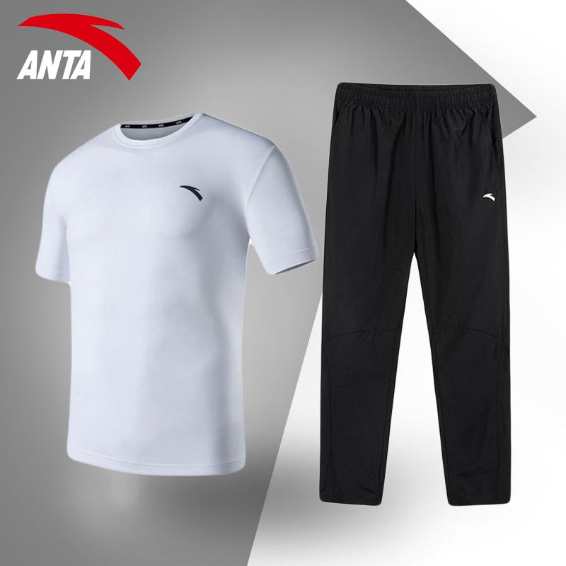 安踏运动套装男短袖长裤两件套夏季跑步服休闲服装官网旗舰运动服