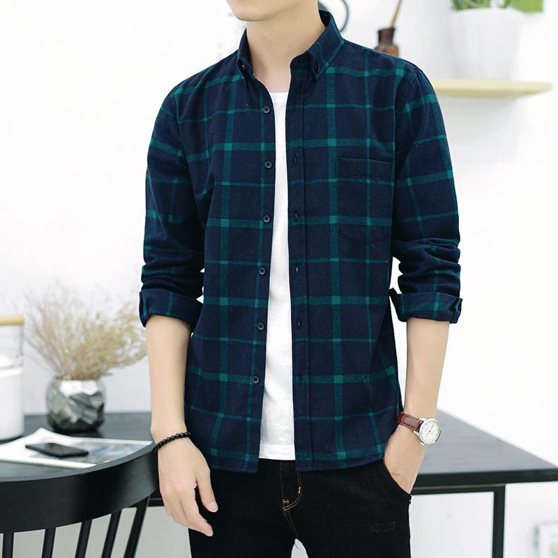 衬衫男Fashion Men's Shirt Casual Plaid Cotton shirts for men