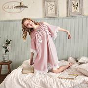 Gukoo trấu mùa xuân và mùa hè cotton ngọt nightdress nữ giản dị dịch vụ nhà mùa xuân và mùa hè cotton sexy đồ ngủ nightdress mùa hè