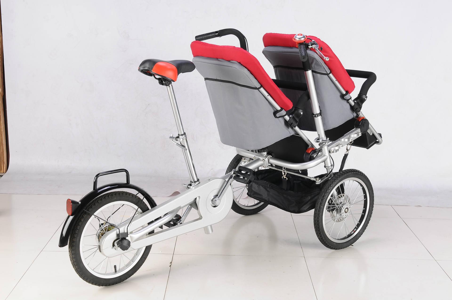 Велосипед для матери и ребенка 新亲子自行车双人折叠自行车手推三轮儿童座椅双胞胎可坐躺母子车