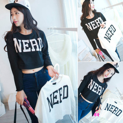 2017 autumn new women Korean version of the loose letter printed umbilical fashion short paragraph T shirt girlfriends