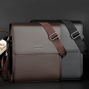 巨森袋鼠真皮男包手提包男士包包单肩斜挎包商务皮包公文包背包潮